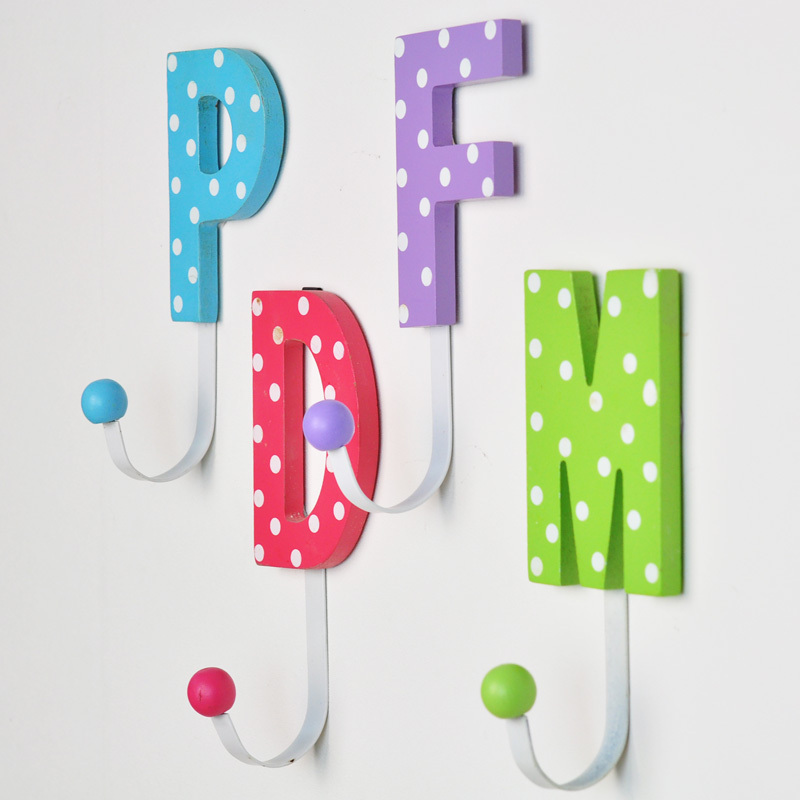 Wooden decorative hooks hook alphabetical cute cartoon Cute coat hooks