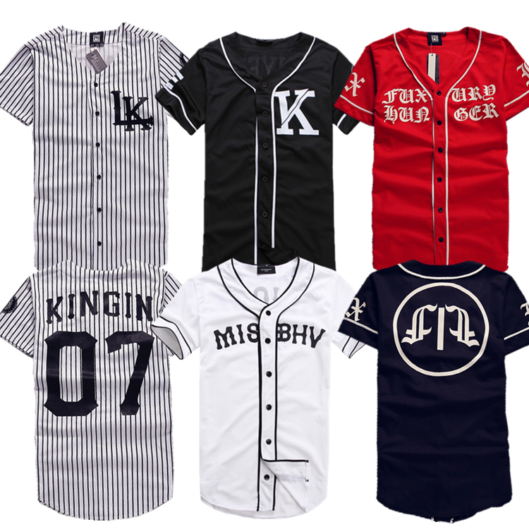 2015 New Last King LK KNYEW 07 MISBHV Striped Baseball Jersey T Shirts Men Women Mesh V-Neck Jersey Hip Hop Street T-Shirts Tee(China (Mainland))