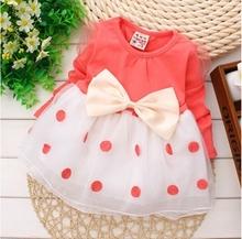 Baby girl dress,New 2014,dresses for girls,bebe,newborn,children girls bowknot long-sleeved princess dress,baby girl clothes(China (Mainland))