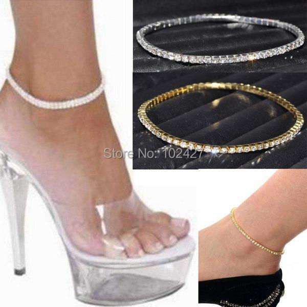 One Row Clear Crystal Tennis Silver Gold Stretch Anklet Foot Chain Leg Bracelet Rhinestone Ankle Bracelet tornozeleira femininas(China (Mainland))