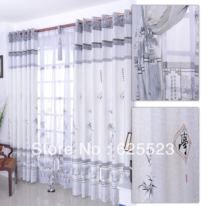 Free Shipping Curtains For Living Room Ready Made Curtain Chinese Style Printed Curtain