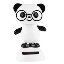 Excellent Fashion Solar Energy Shaking Cute Glasses Panda House Decoration Christmas Environment-friendly Gift(China (Mainland))
