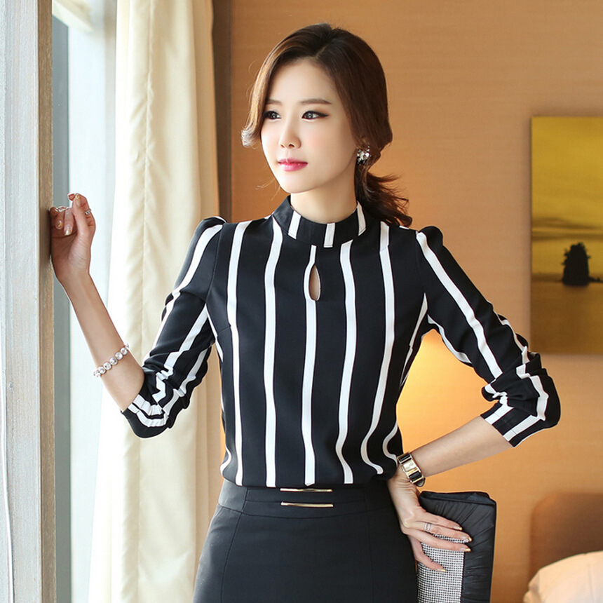 2016 Korean Style Fashion Ladies Long Sleeve Hollow Out Striped Blouse Shirt Women Office Shirt