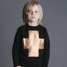 Ins hot New Autumn boy&girl  gold cross  raglan Sweatershirts(China (Mainland))