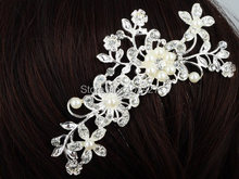 Fashion Rhinestone Bridal Wedding Flower Pearls Headband Hair Clip Comb Jewelry