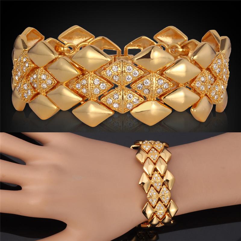 Bracelets & Bangles Women Men Jewelry Big Fashion Rhinestone Crystal Jewelry Platinum 18K Gold Plated Bracelet Loom Bands H5142(China (Mainland))