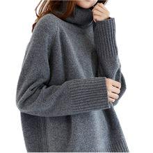 2018 Đôi dày lỏng cao cổ áo len cashmere nữ áo len cashmere áo thun áo len(China)