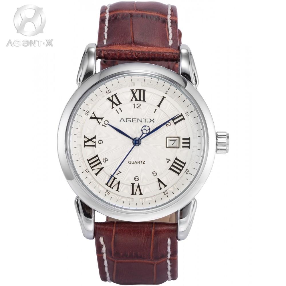AGENTX Brand Watch Roman & Arabic Numerals Silver White Date Quartz Men's Gents Gift Brown Leather Band Wrist Watches / AGX133(China (Mainland))