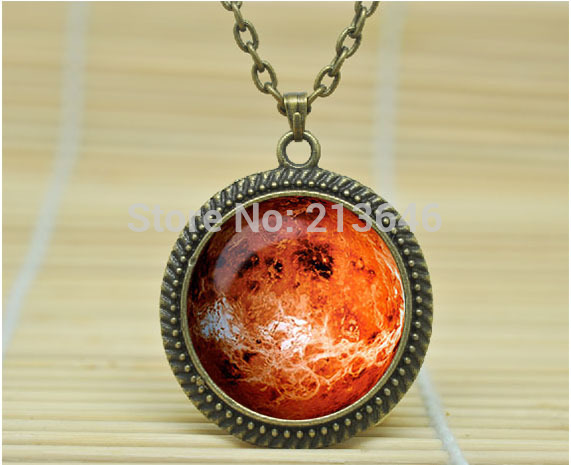 10pcs PLANET VENUS NECKLACE solar system jewelry planet neptune pendant jewelry Galaxy necklace Glass Cabochon Necklace A0796(China (Mainland))