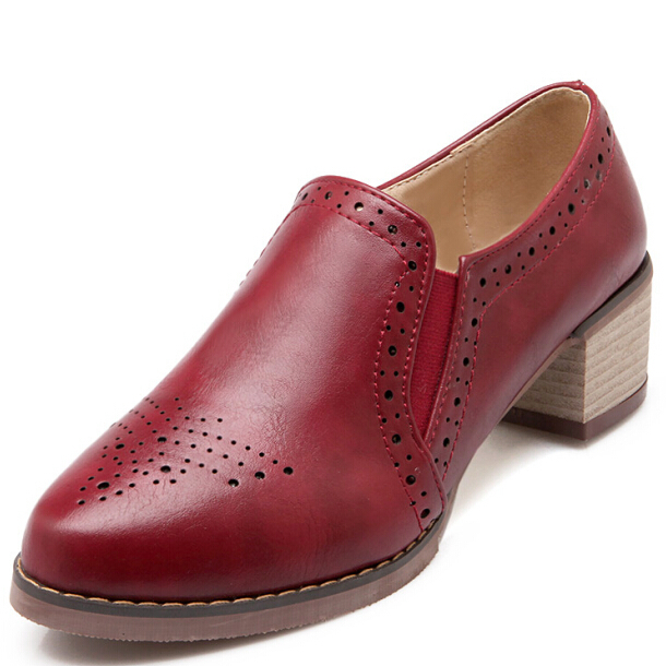 Buy Enmayer Fashion British Style Pointed Toe Heels Oxford Shoes For Women