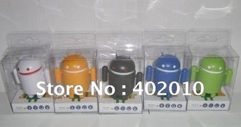 Free Shipping by EMS 50pcs/lot Android Speaker Android Robot Speaker Mini Robot Android Portable Speaker