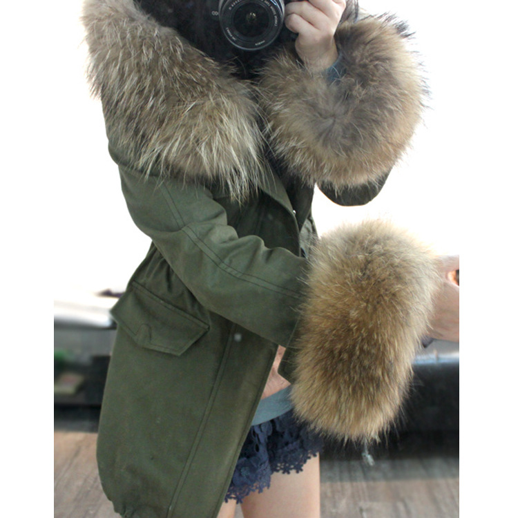 2015 Fashion Women Winter army green Coats 100% Real Large Raccoon Fur Collar Sleeve Hooded Cotton Padded Parkas size XS-XL - Angel bing tribe store