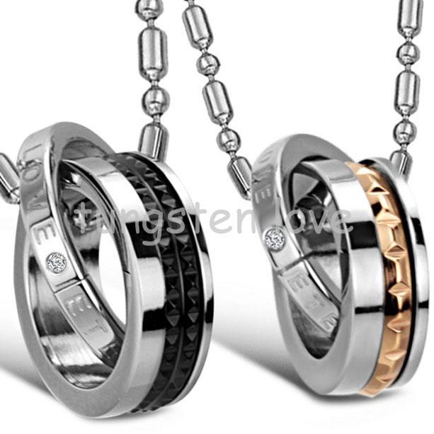 "New Black & Rose Gold ""Eternal Love"" Interlocking Double Circle Pendant Necklace Couple Jewelry For Women Men colar masculino(China (Mainland))"