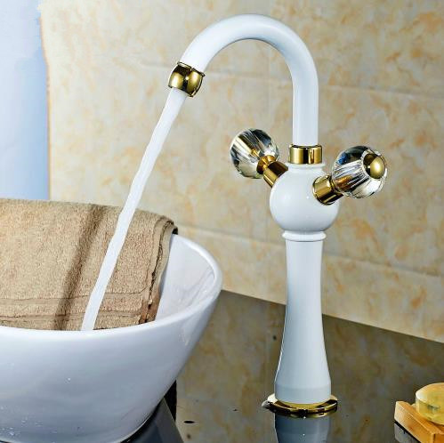 Free Shipping Double handle crystal basin tap sink faucet water faucet Antique gold Grilled white paint washbasin faucet JR-834B(China (Mainland))