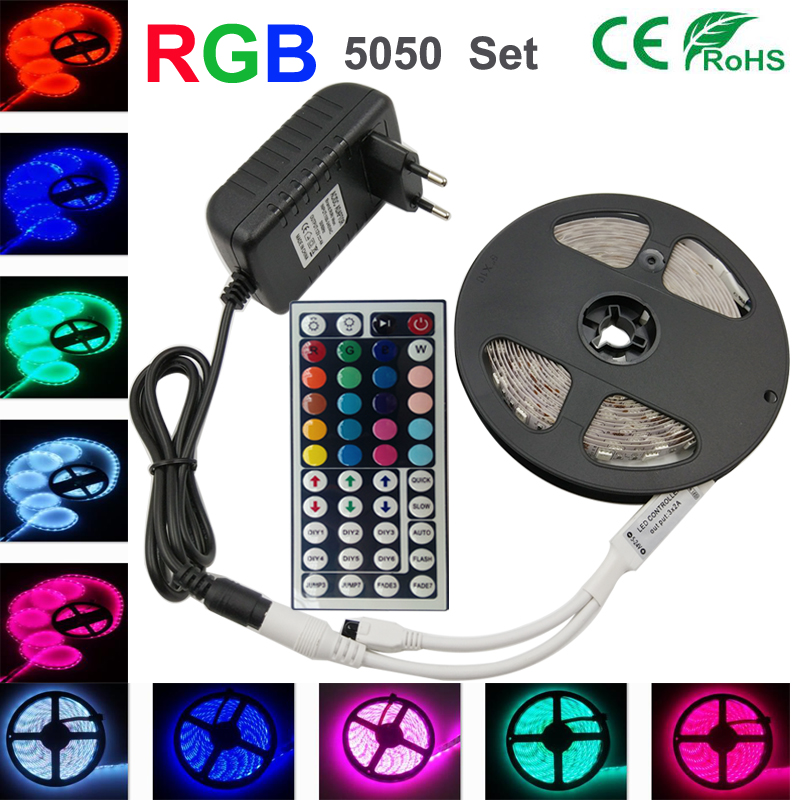rgb Strip rgb led strip light 30led/m led tape light 4m 5m 10m SMD5050 DC12V Power adapter 44keys controller RibbonLighting Set(China (Mainland))