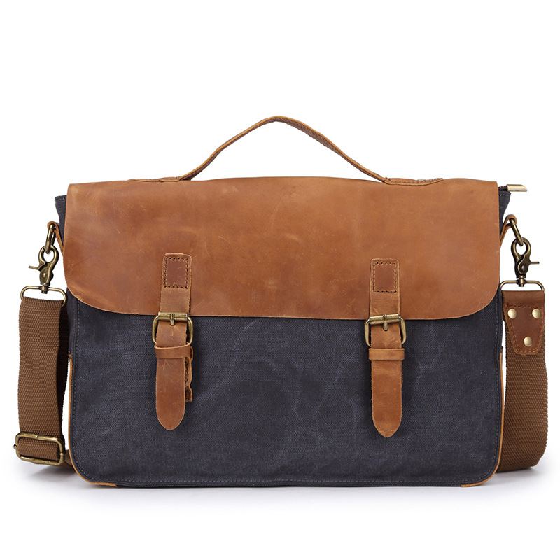 2016 Europe &amp; America Style Vintage Retro Canvas Messenger Bags with Genuine Cow Leather Laptop Pocket Crossbody Bag Casual Tote<br>