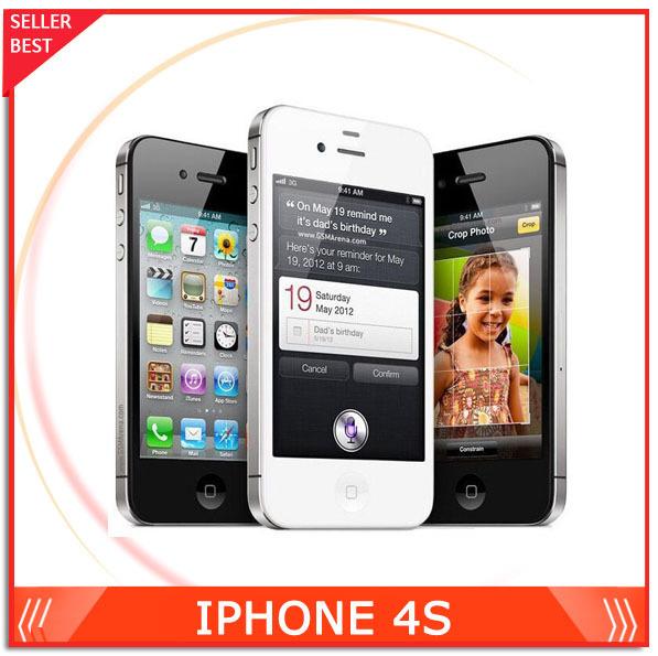 "8.25 Happy Sale!! 100% Factory Unlocked Apple iPhone 4S Unlocked Cell Phone 16GB/32GB IOS 8 3.5"" 1080P Dual Core 8MP 3G WCDMA(China (Mainland))"