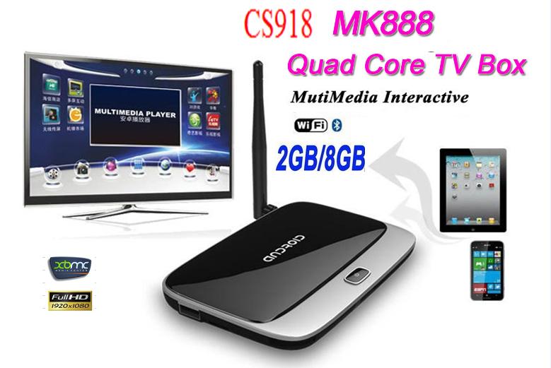 cheap original quad core Android TV Box CS918 RK3188 WiFi Smart TV Media Player (with bluetooth) MK918 MK888 CS918 tv box(China (Mainland))
