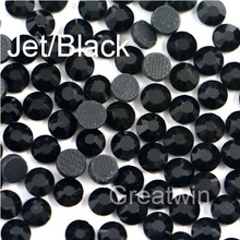 SS10 2.7-2.8mm,1440pcs/Bag DMC Hotfix Jet Black Glass Crystals Hot Fix Iron On Flatback Motif Rhinestone Stones(China (Mainland))