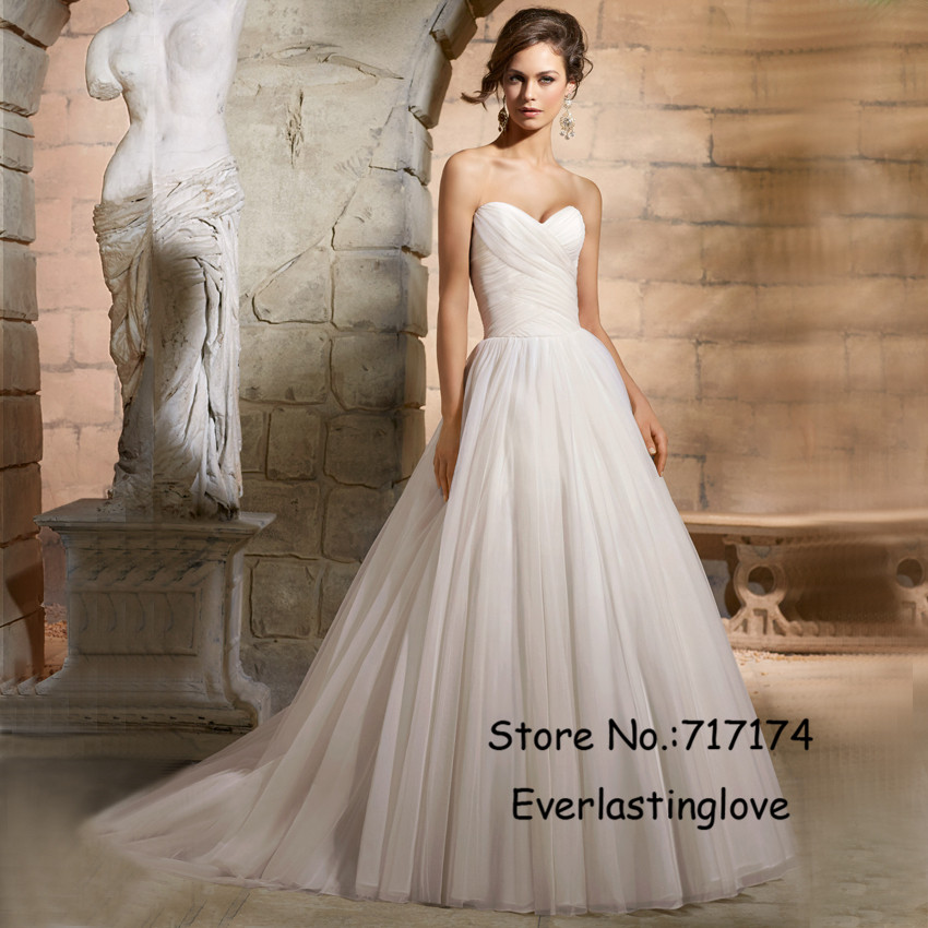 Buy simple elegant sweetheart off for Tulle a line wedding dress