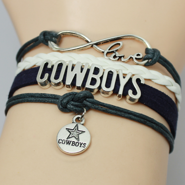 Infinity Love NFL Dallas Cowboys Football Team Bracelet Navy Silver Custom Any Bracelets Offer Drop Shipping(China (Mainland))