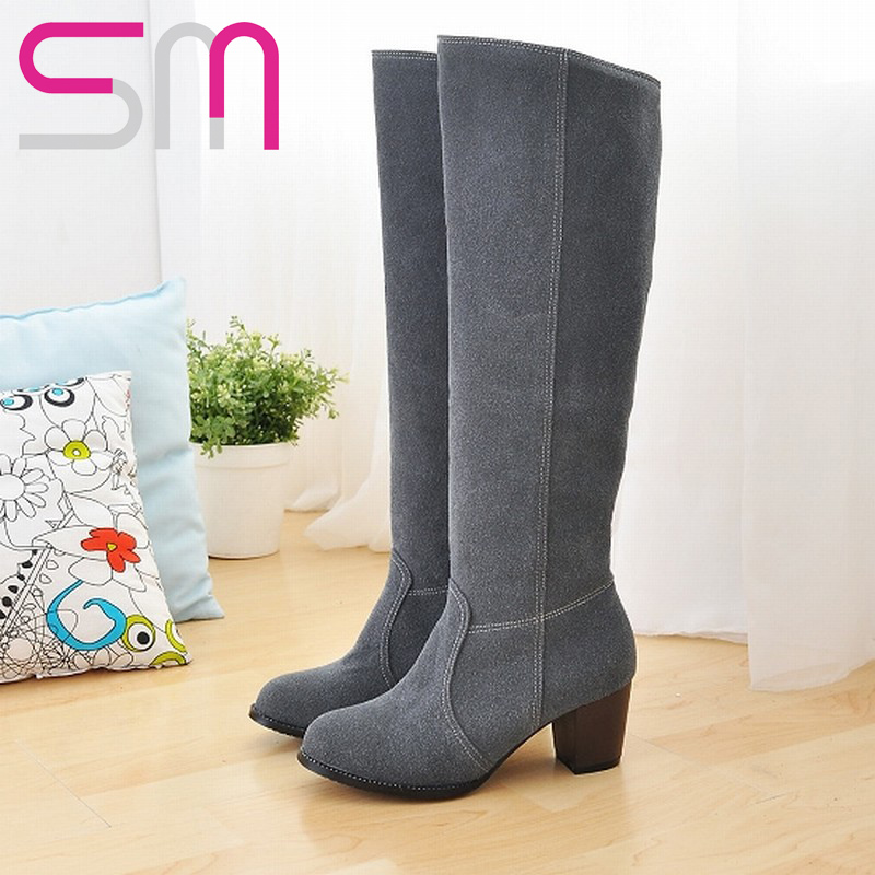 34-46 5colors Consize Knee High Boots 2015 High Heels Knight Boots Platform Shoes Autumn Winter Boots Women Boots Shoes Woman