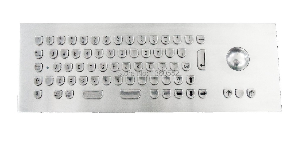 Indukey keycap shap industrial keyboard, Ergonomically designed stainless steel metal keyboard with 65 keys and trackball(China (Mainland))