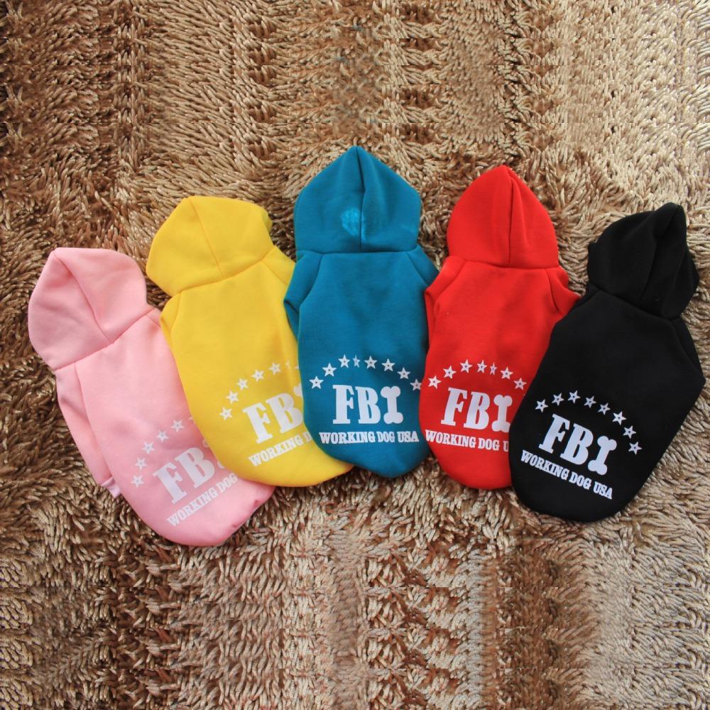 2015 Hot Puppy Dog Coat Clothes Winter, FBI Pattern Hoodie Sweater Dog Costume, Roupas Para Cachorro S M L XL XXL Free Shipping(China (Mainland))