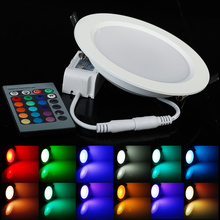 Ultrathin 5W 10W  RGB 24 ColorsTube Lamps LED Ceiling Panel Down Light Lamps Round Shape with Remote Controller(China (Mainland))