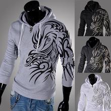 New 2015 Mens Male Fashion Hooded Hoodies Novelty Tattoo Dragon Printed Pullover Sweatshirts Fleece Casual Jacket Coat M-4XL(China (Mainland))