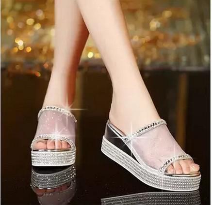 Platform genuine leather female slippers word gauze lace rhinestone platform open toe wedges sandals - Happiness knocking store