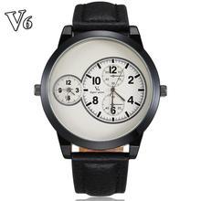 V6 hombres reloj marca 2014 moda diseño Simple reloj Casual cuero auténtico Dual a lo grande del Dial del reloj para Hombre Relo Hombre
