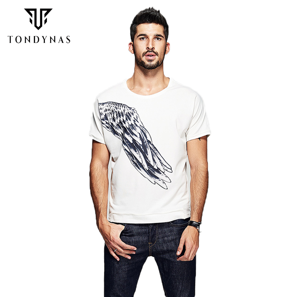 Man print wing t shirts male cotton short sleeve t shirts for Black and white short sleeve shirts