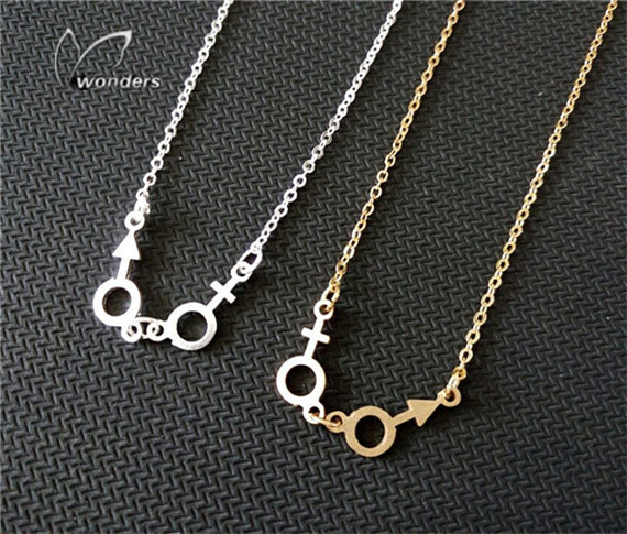 30pcs/lot-2015 Gold/Silver Metalwork Jewelry Stainless Steel Female and Male Sign Charm Necklace for Women<br><br>Aliexpress