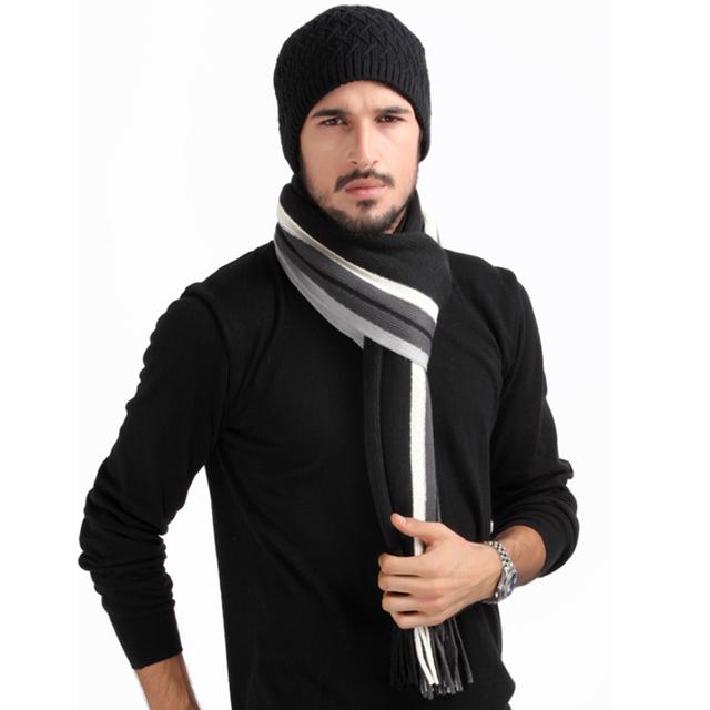 2016 новинка мужчины зимой теплый шарф супер длинный размер 180 см толщиной мужской полоса кисти шарфы платки