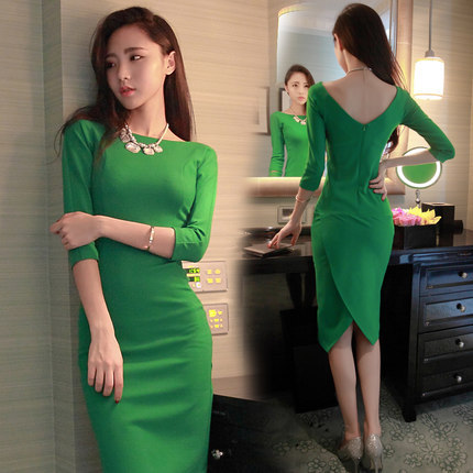 Spring and Autumn 2015 New Womens Dress Ladies Slim Thin Slit Long Dress Plus Size Sexy Dresses Womens Dresses Vestidos DM2269Одежда и ак�е��уары<br><br><br>Aliexpress