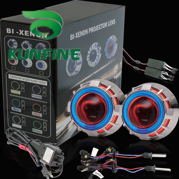Wholesale Price Car Bi-Xenon HID Projector Lens Kit with Double angel eyes and bulb +14months warranty<br><br>Aliexpress