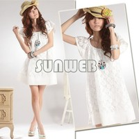 2013 women's Newest Sweet Fashion Cozy Lace Dress Short Sleeve Skirt/support drop shipping 35