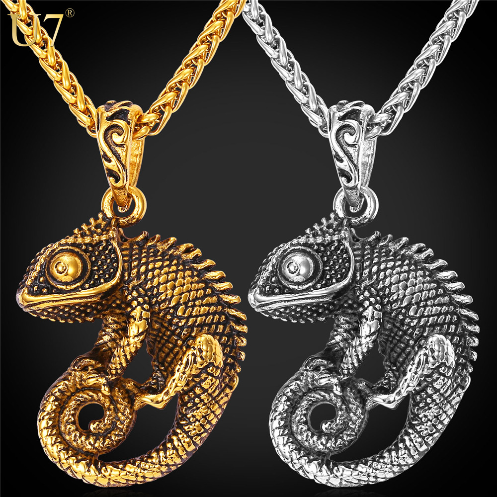 U7 Statement Necklace For Women/Men Jewelry 18K Gold Plated Stainless Steel Chameleon Dragon Big Necklaces & Pendants P594(China (Mainland))