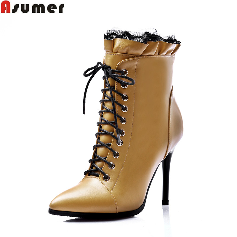 Genuine leather women fashion riding boots new arrival 2016 pointed toe zip thin heels ankle boots 33-43 big szie lady shoes<br><br>Aliexpress