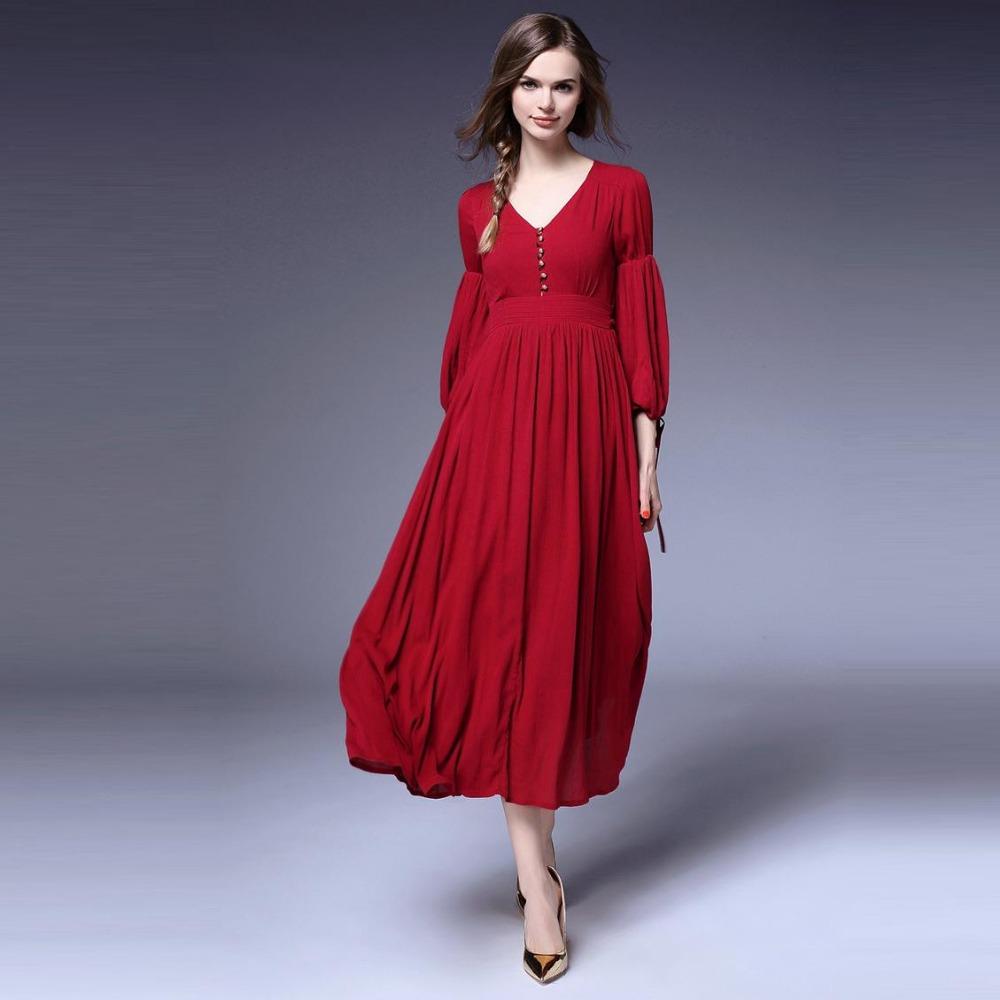Здесь можно купить  High Quality New Fashion Red Long Dress 2016 Spring Summer Women V-Neck Golden Button Lantern Sleeve Casual Maxi Dress Long XL  Одежда и аксессуары