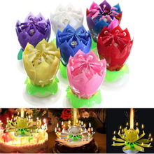 1PC Beautiful Blossom Lotus Flower Candle Birthday Party Cake Music Sparkle Cake Topper Rotating Candles Decoration EJ670976(China (Mainland))