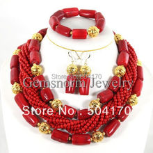 Free Shipping! 2015 Fashion Red Coral Beads Jewelry Set Charms Red Twisted Strands African Jewelry Set High Quality CNR132(China (Mainland))