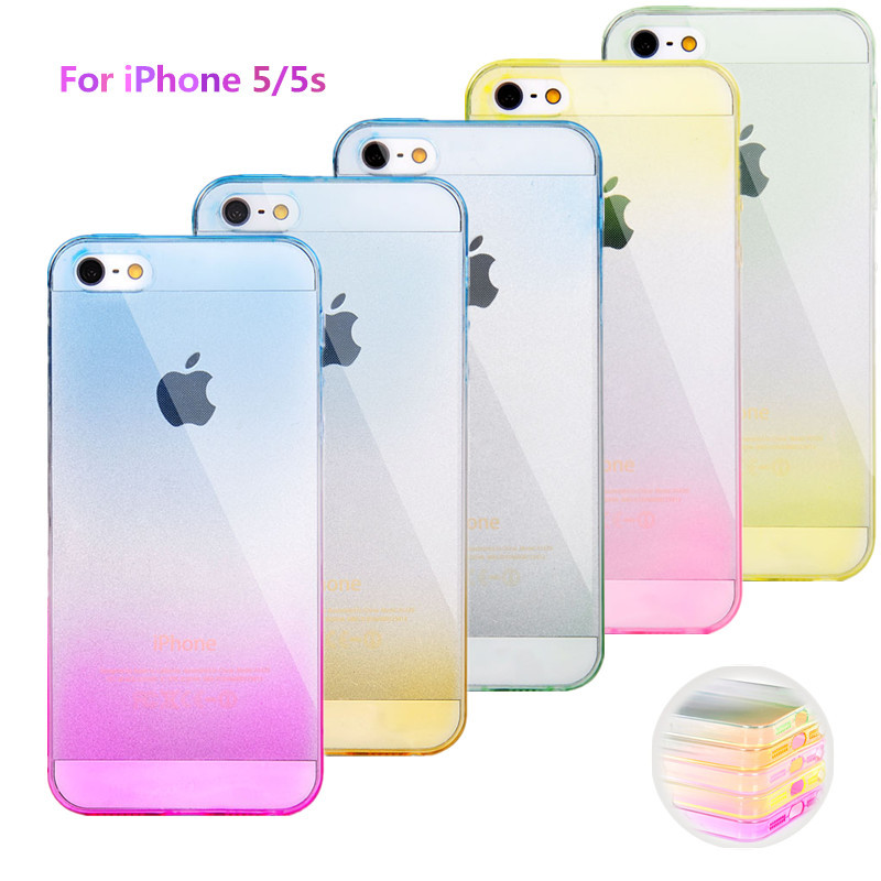 Phone Cases for Apple iPhone 5s Case Transparent Gradient Color Case Design TPU Silicon Phone Covers Shell Capa Top Quality(China (Mainland))