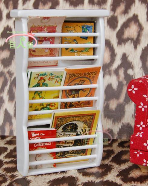 Doll house model house mini dollhouse furniture white magazine rack model