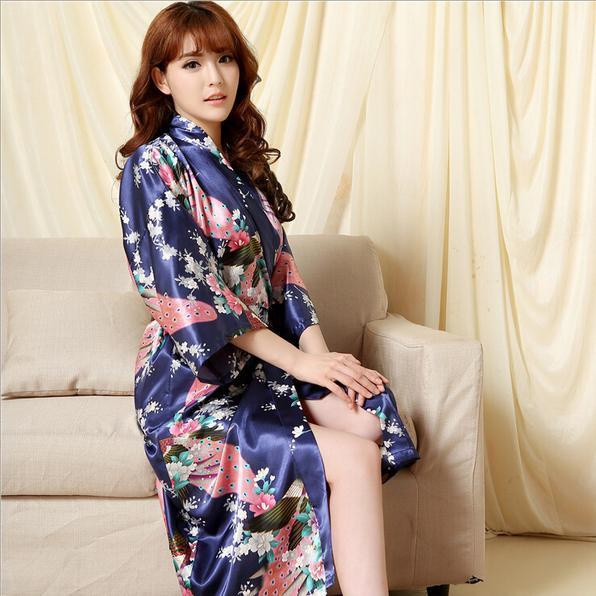 Новые поступления шелковое кимоно халат женщины красный шелк невесты одеяния сексуальная ...