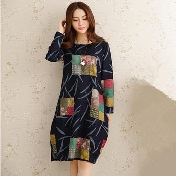 new fashion spring autumn style cotton vintage print plus size women casual loose dress party vestidos femininos 2015 dresses