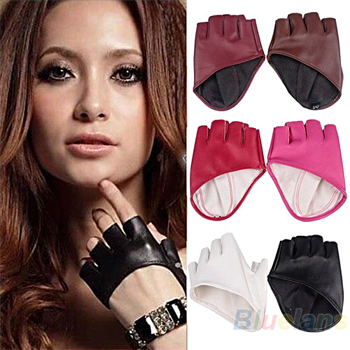Fashion PU Half Finger Lady Leather Gloves women Lady's Fingerless Show  Driving Gloves