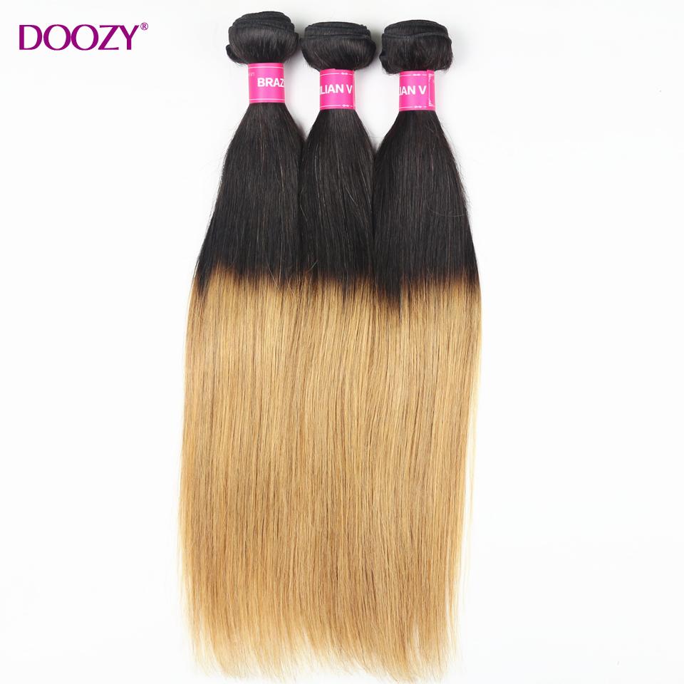 Doozy ombre 2 tone color 1b/27 straight brazilian virgin hair 3 bundles double weft 7A virgin remy human hair weave<br><br>Aliexpress
