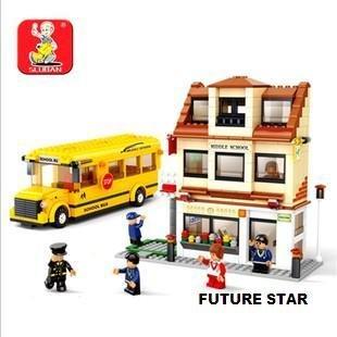 Freeshipping! School Bus SLuban 3D Jigsaw Puzzle Education-assembling toys for kids 496pcs(China (Mainland))